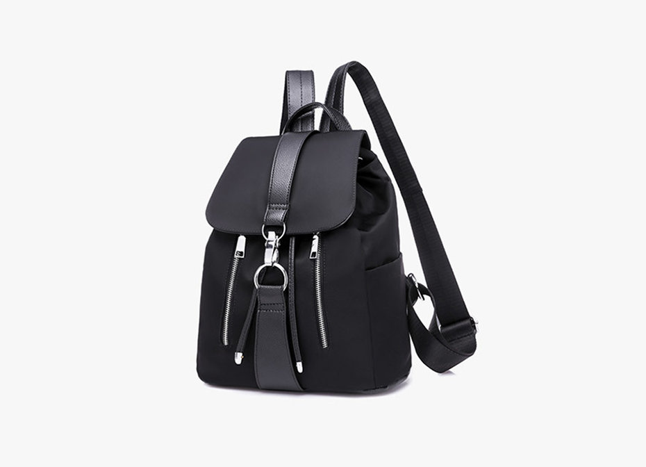 HTB1WmM4J29TBuNjy1zbq6xpepXa7 - Women Backpack School Bags For Teenager Girls Nylon Zipper Lock Design Black Femme Mochila Female Backpack Fashion Sac A Dos