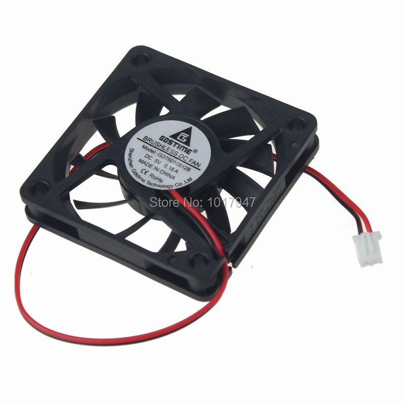 10PCS LOT Gdstime 6010 DC <font><b>5V</b></font> 2P 6cm <font><b>60mm</b></font> 60x60x10mm Ventilation Axial Cooling Cooler <font><b>Fan</b></font> image