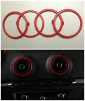 4pcs Red Air Condition Vent Outlet Ring Replacement Cover Trim For Audi A3 S3 2013 2014