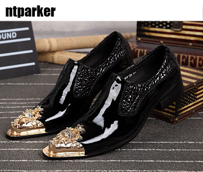 Ntparker YItaly Style Handmade Man Leather Shoes Black Man Dress Leather Shoes Ponited Steel Toe Slip-on Shoes, Big Sze 46