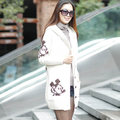 Maternity Print clothing autumn and winter plus velvet overcoat clothes casual sweater cardigan thickening