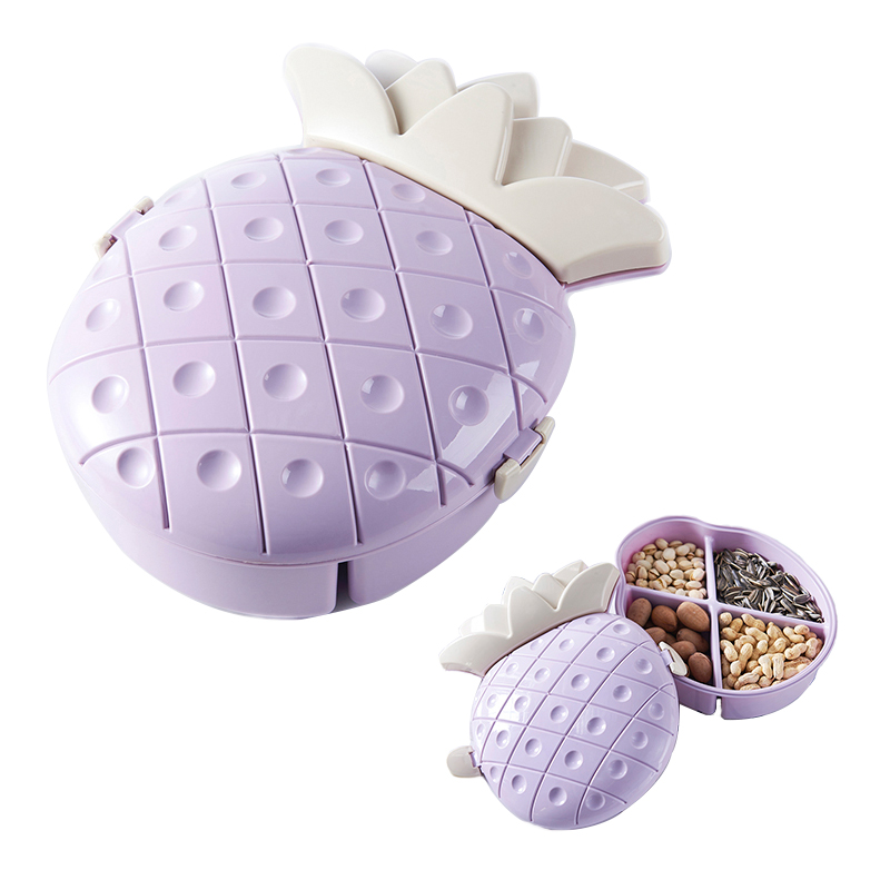 Creative Pineapple Shape 4 Grids with Cover Candy Snack Nut Holder Compote Tray Dish Decoration Plate Kitchen Office Storage Box