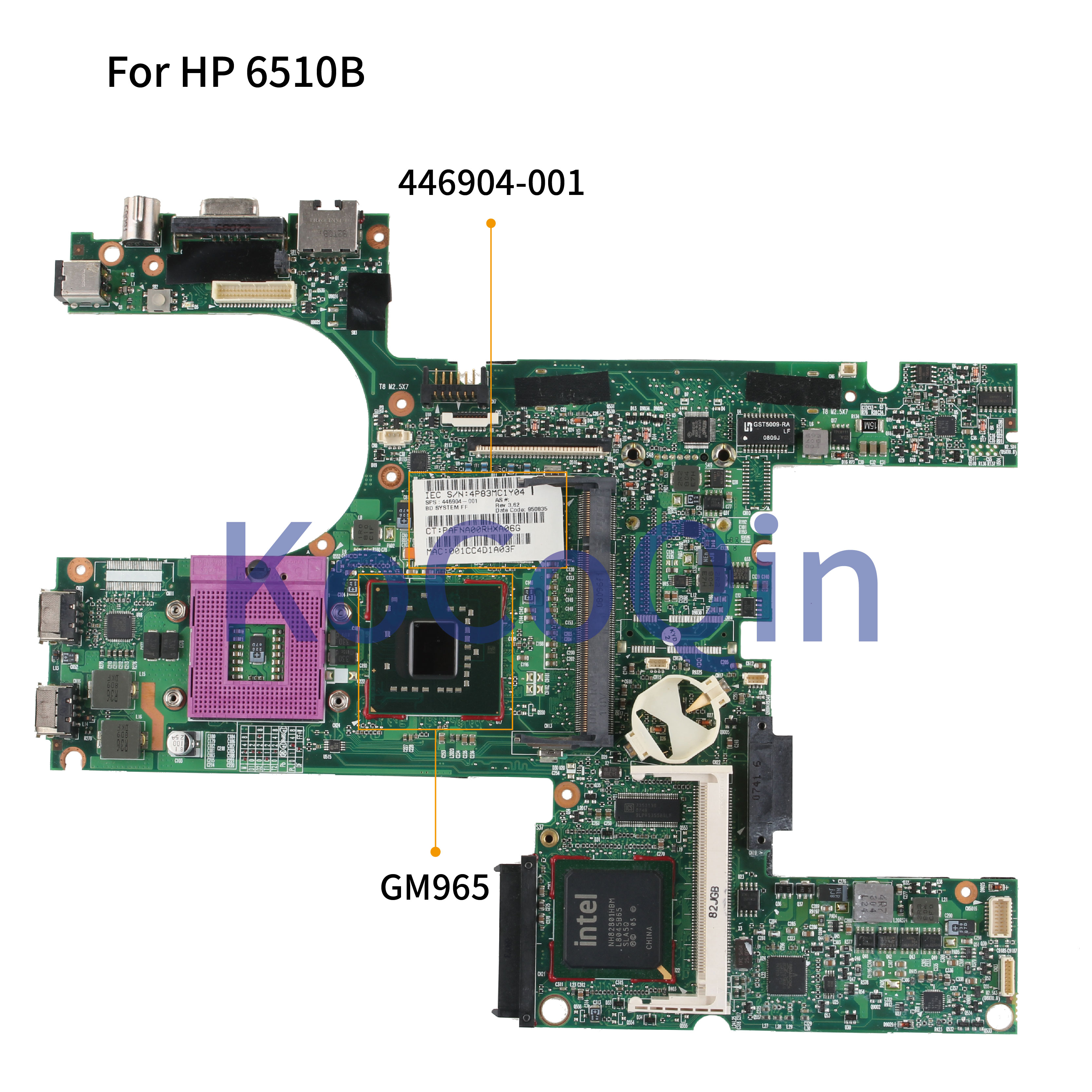 KoCoQin Laptop motherboard For HP Compaq 6510B 6710B Mainboard 446904-001 446904-501 GM965 DDR2