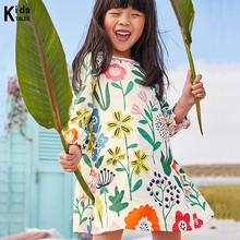 Dress for girls brand Vestidos INFANTIL childrens clothing long sleeves with a flower pattern dress