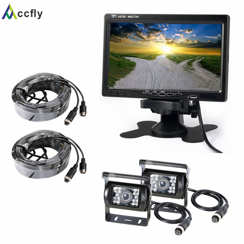 Accfly 12V 24V HD dual car reverse rear view camera for Trucks bus Caravan Van Excavator RV Trailer Camper with Monitor gision 12v 24v wireless car reverse reversing backup rear view camera for trucks bus excavator caravan rv trailer with monitor