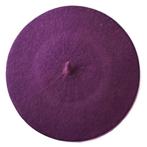 Одноцветный женский берет для девочек, французская художница, теплая шерстяная зимняя шапка, шапка 4XQT - Цвет: Фиолетовый