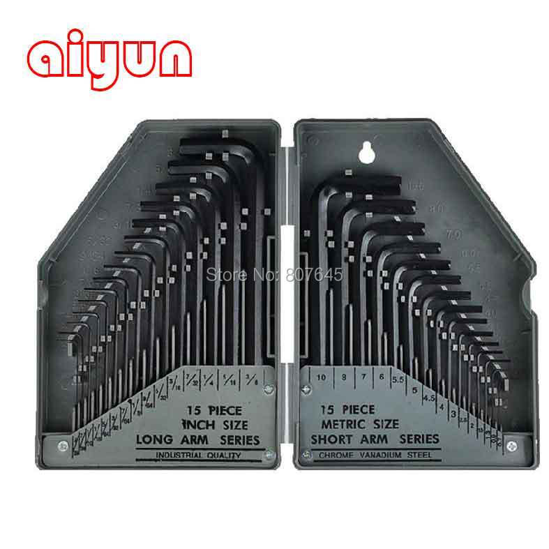 30 in 1 Precise Manual Tool Set Allen Key Set Inner Hex Key Wrench inner hexagon key wrench set professional tools set l wrench set 9 pcs