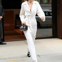 Бренд взлетно посадочной Для женщин из смесовой шерсти комбинезоны элегантная женская обувь на высоких каблуках с пояса полной длины комби