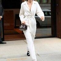 Бренд взлетно посадочной полосы Для женщин шерстяные смеси КОМБИНЕЗОНЫ Элегантные пояса полной длины комбинезон женский белый свободный,