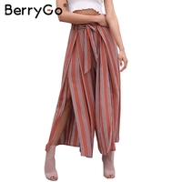 BerryGo Casual split wide leg pants women Christmas summer high waist beach striped pants Elastic sash chic trousers femme