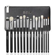 BEILI Black 15 Pieces Eye shadow Concealer eyeliner Eyebrow Natural Goat Pony Synthetic Hair Makeup brush Set