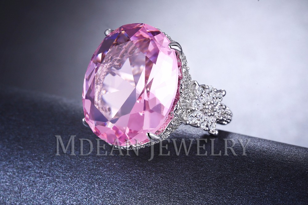 MDEAN Pink Stone White Gold Color Wedding Rings For Women Engagement Big AAA Zircon Jewelry Ring Fashion Bague MSR812 7