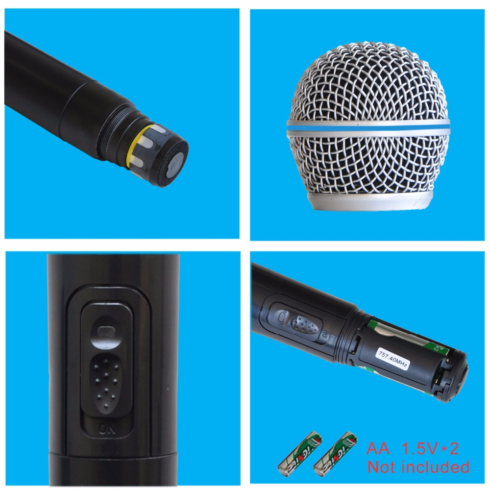 Image 3 - Freeboss KU 22H UHF Dual Channel Mic Transmitter Professional Karaoke Wireless Headset + Lapel + Handheld  Microphone-in Microphones from Consumer Electronics
