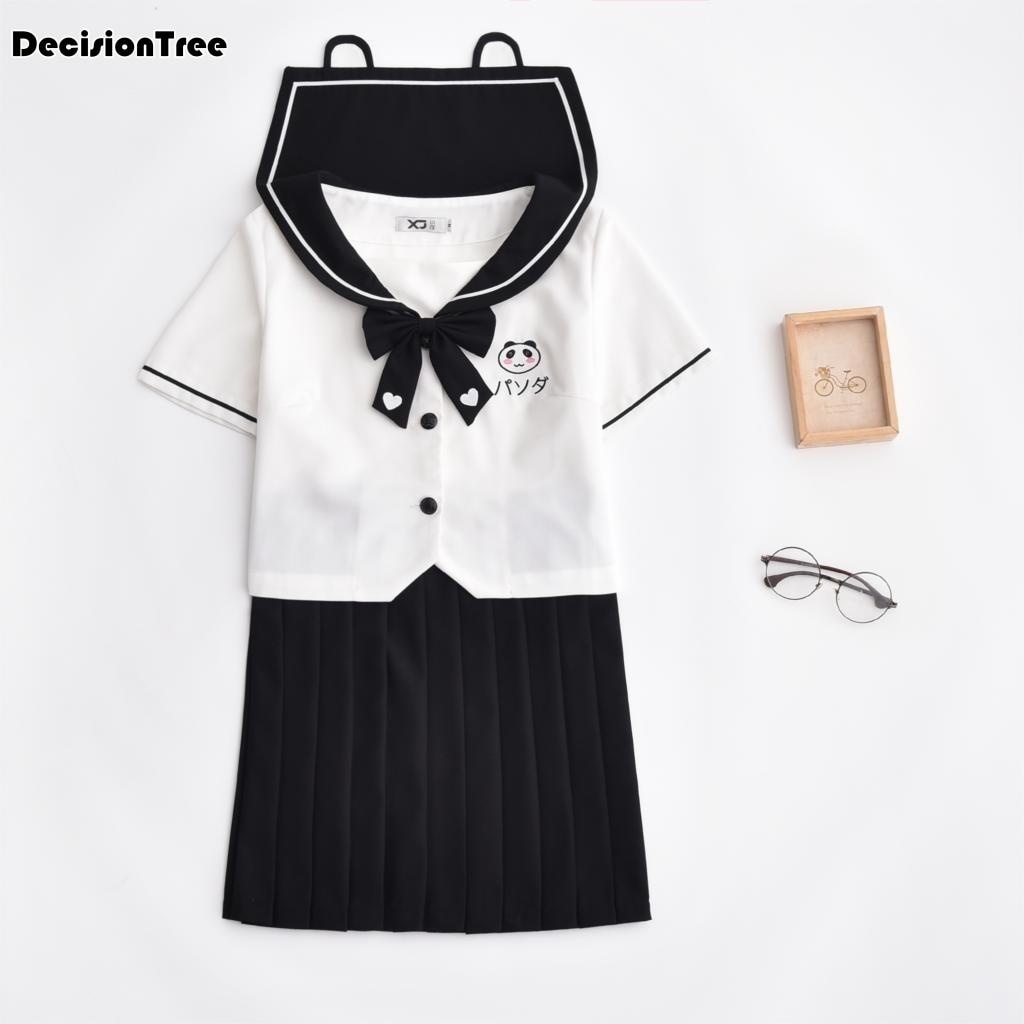 2019 été panda broderie école uniforme ensemble étudiant uniforme cravate marin costume ensemble table costume japonais école uniforme fille