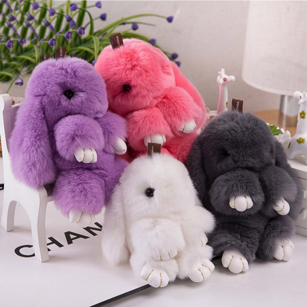 Clearance Sale Cute Cartoon Mini Genuine Rabbit Key Chain Bag Car Charm Pendant Women Trinket Rabbit Toy Doll Real Fur Monster