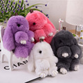 Cute Cartoon Mini Genuine Rabbit Key Chain Bag Car Charm Pendant Women Trinket Rabbit Toy Doll Real Fur Monster