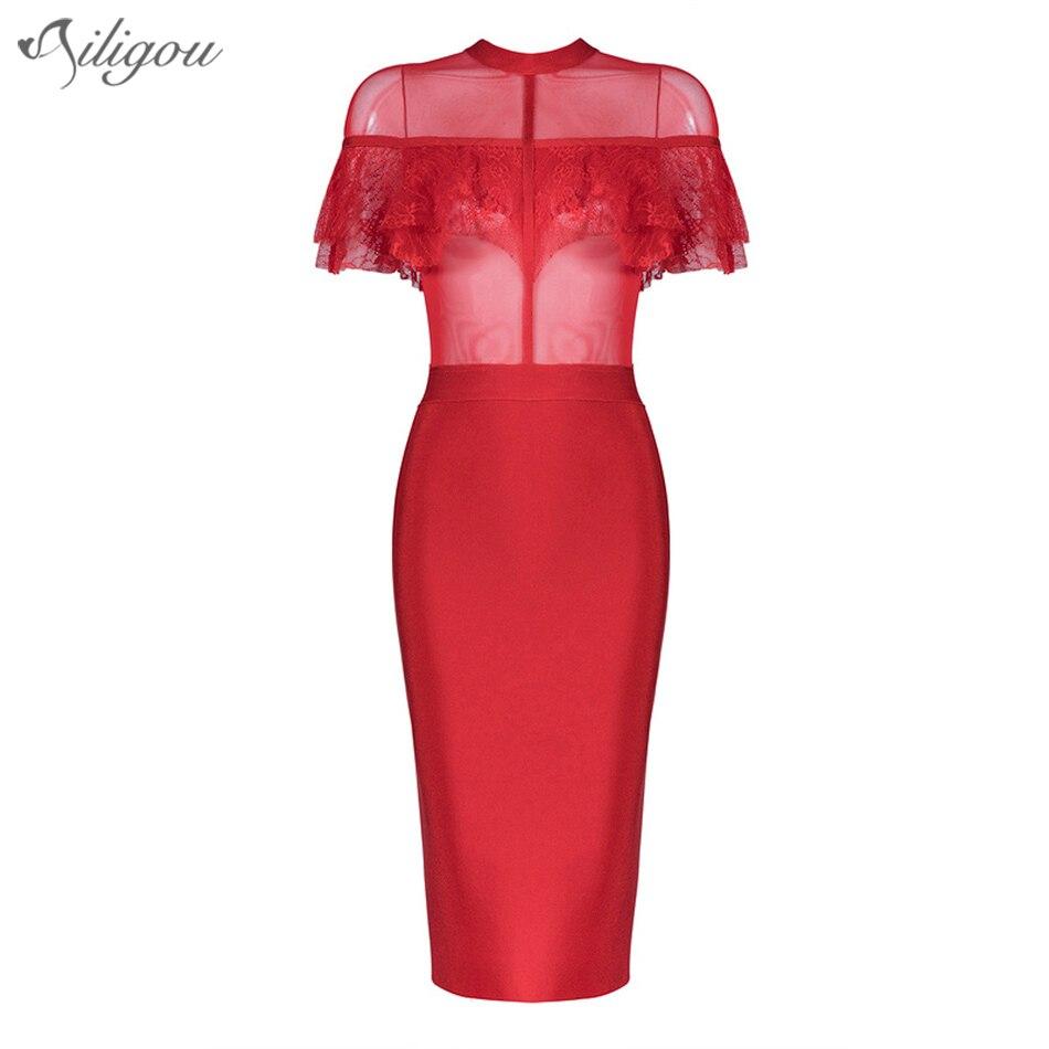 Femmes Ailigou Rouge Maille Manches Nouvelles 2017 Col Bandage D'été Robe Roulé Noir Courtes Party rouge Dentelle Noir Robes Celebrity tzwtFqrPx