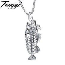 Moda Fish Bone Piranha Colgante Chapado En Oro Collares Con Cadena de Acero Inoxidable 316L Mejor Regalo Para Hombre Mujer Señora TY1073