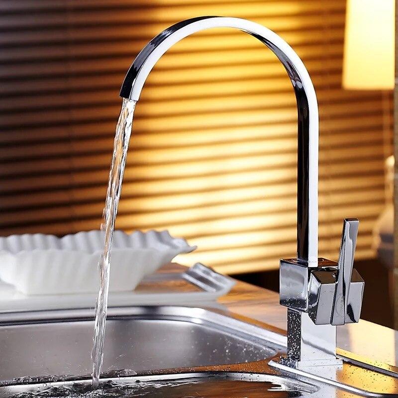 brass waterfall kitchen sink mixer