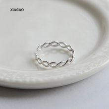 XIAGAO 925 Sterling Silver Ring Opening Hollow Twist Pumk Style Vintage Fashion Silver Jewelry For Women CNR136