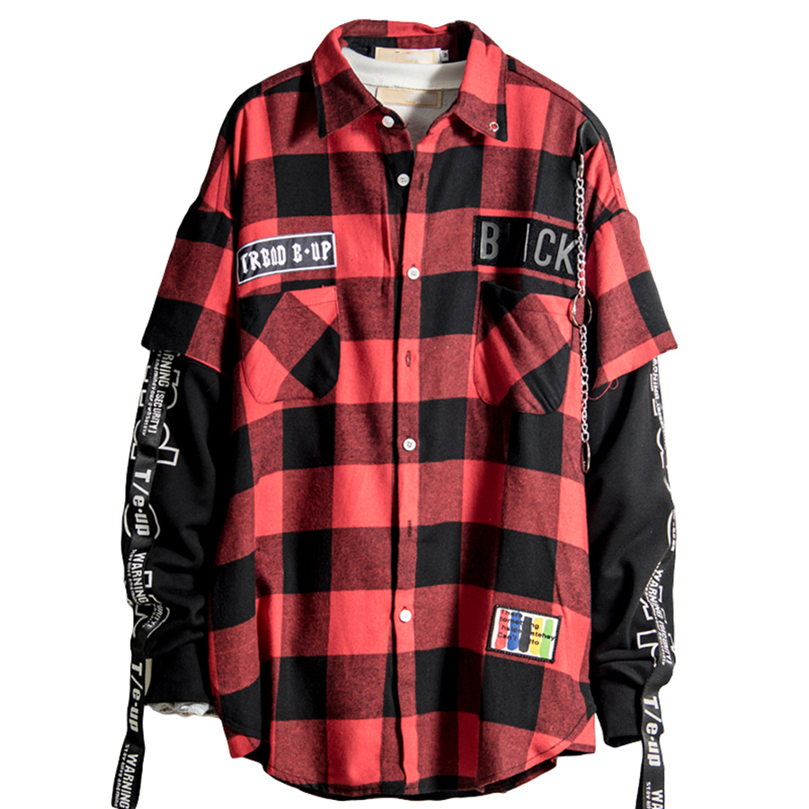 Red And Black Plaid Patchwork Shirt Men Hip Hop Checkered Shirt Korean Fashion Streetwear Men Shirts Button Up Punk Rock Rap Рубашка