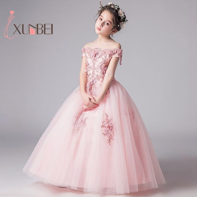 Luxury Off The Shoulder Beaded Applique Pink Ivory Flower Girl Dresses 2019 Tulle Kids First Communion Dress Birthday Party Gown