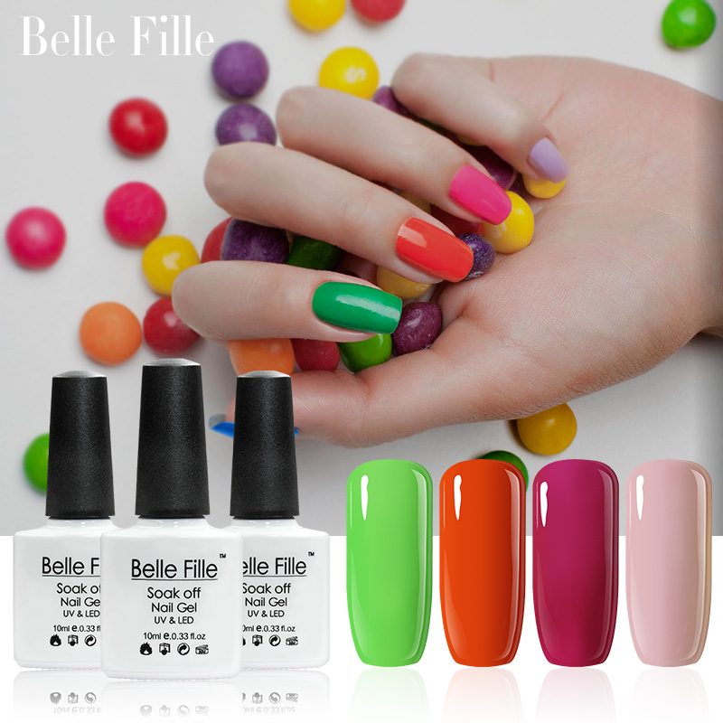 Belle Fille 10ml Esmalte en gel para uñas 79 colores Base Capa superior UV Gel Esmalte Soak Off UV LED Geles Color caramelo Brillante Desnudo Gel dulce