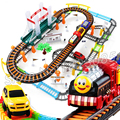 84pcs 3D Two-Layer Thomas Trains Sets Trackmaster Model Electric Flashing Rail Car Thomas And Friends Children's Creative Toys
