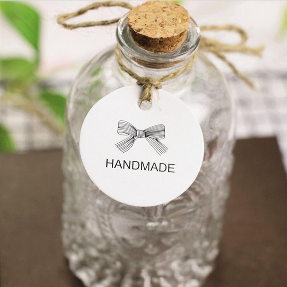100Pcs DIY Kraft Paper Tags White Round Heart Label Luggage Wedding Note Blank Price Hang Tag Kraft Gift Christmas Decor