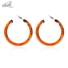 Badu Round Acrylic Hoop Earrings for Women Big Circle Large Statement Vintage Fashion Jewelry Christmas party Wholesale