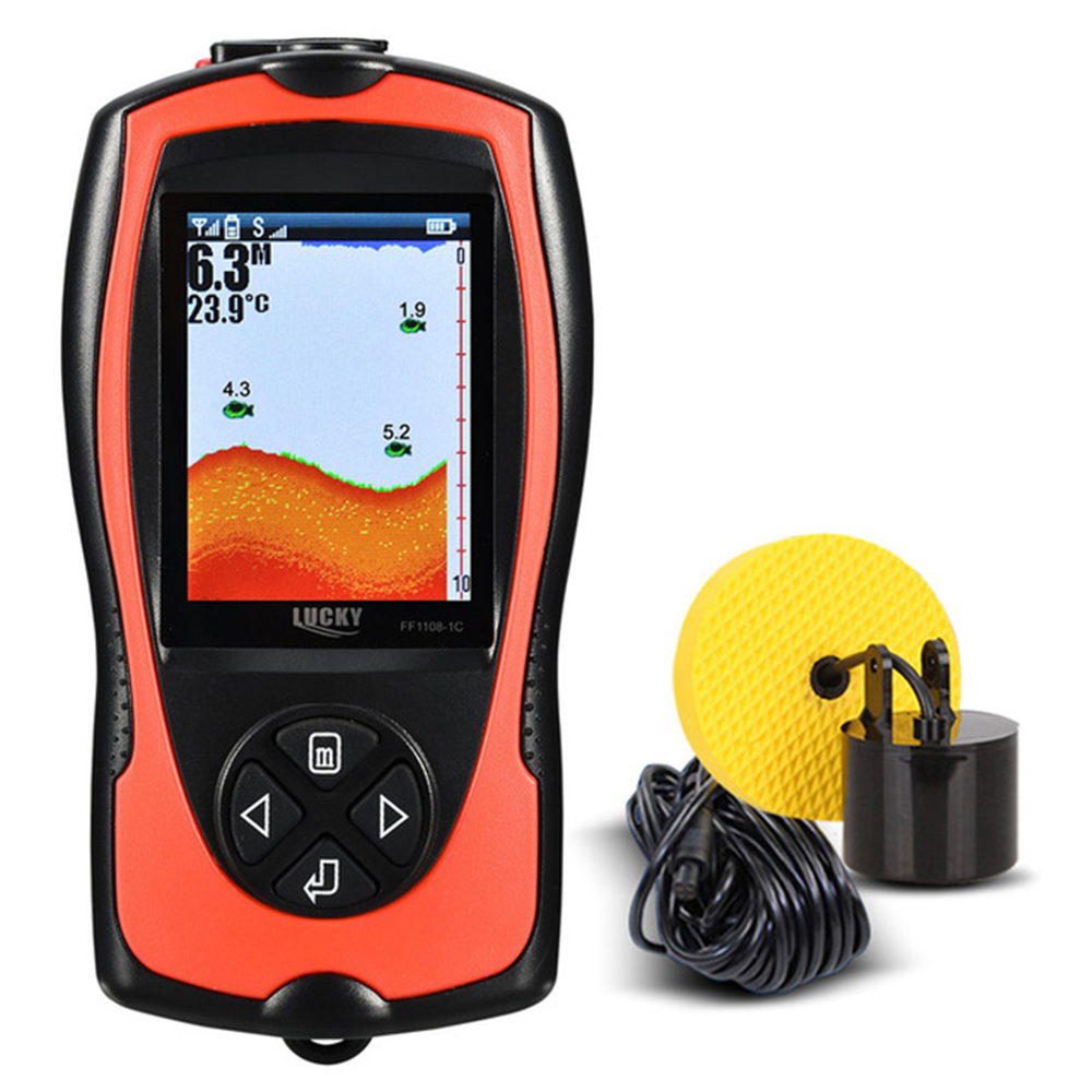 LUCKY Waterproof Portable 100M 300FT Depth Fish Alarm Wired Fish Detector Sounder 2 4 LCD Fish