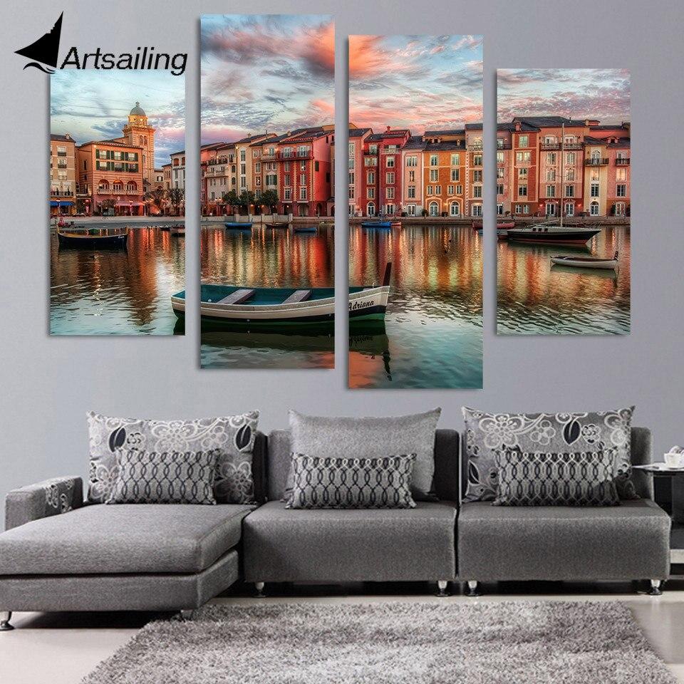 Orlando Home Decor Stores: Canvas Painting 4 Piece Canvas Art Boats Orlando Buildings