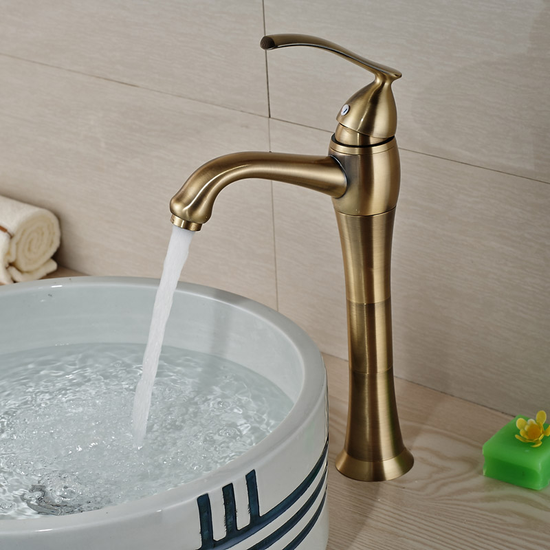 Luxury Antique Bronze Single Lever Basin Vantiy Sink Faucet Deck Mount Brass Bathroom Vessel Sink Mixer