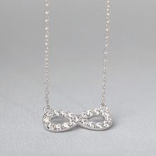 Funmor Exquisite Cubic Zircon Necklace 925 Sterling Silver Jewelry Women Girls Banquet Gathering Accessories Chain Ornament Gift