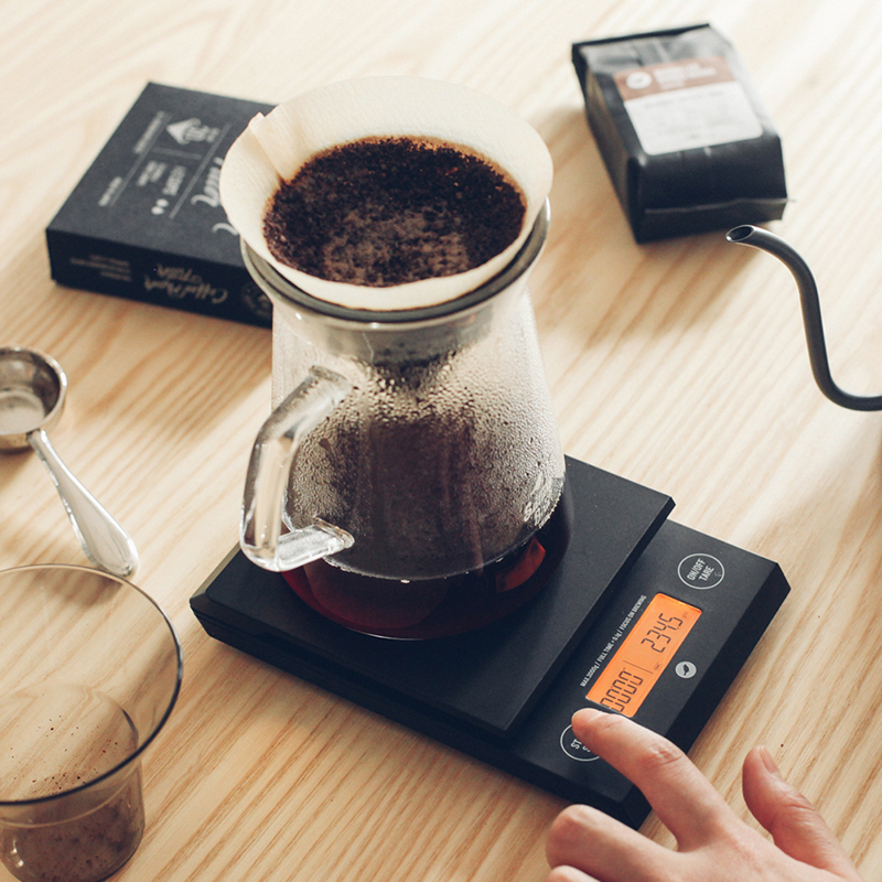 Balance électrique domestique 3 kg/0.1g balance à café amovible Double bouton avec minuterie de LED balance de cuisine numérique électronique - 2