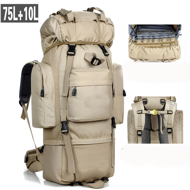 20246640146b 85L Large Capacity Outdoor Mountaineering Bag Tactical Hiking Tactical  Military Bag Sports Backpack Camping Tents Bag