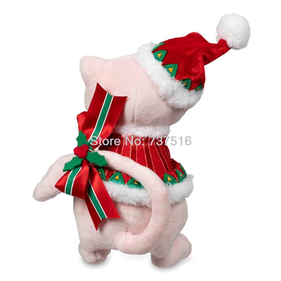 Nouveau Anime peluches rose Mew avec chapeau de noël rouge vacances Extravaganza peluche chat poupée doux jouets cadeau 8 pouces US Ship - 4