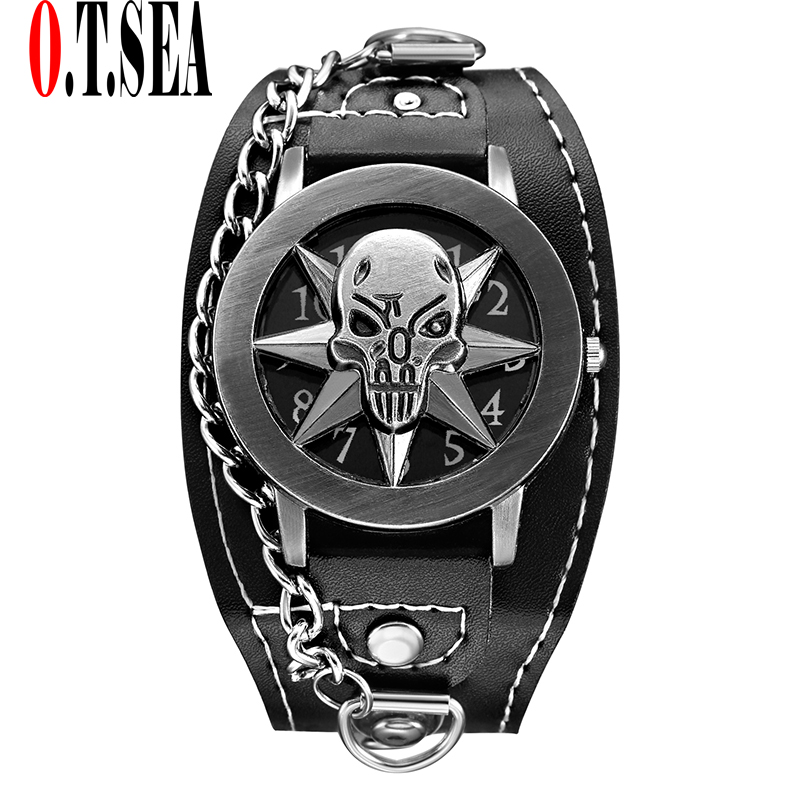 Hot Sales O.T.SEA Brand Skull Leather Watch Men Fashion Military Sports Quartz Wrist Watch Relogio Masculino 1831-10