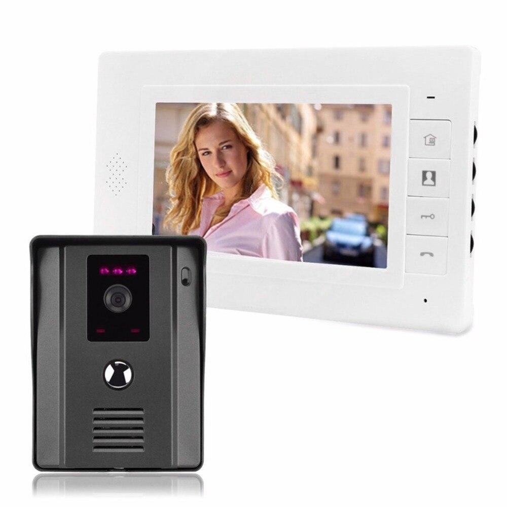 """Wired 7"""" Video Door Phone Video Intercom Doorbell IR Night Vision Rainproof Security Camera Doorbell Kit Home Surveillance"""