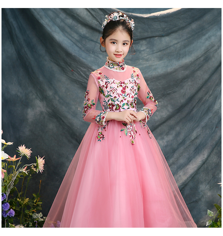 2018 spring fashion embroidary flower girl dress for evening prom party costumes floral clothes wedding peagant gown for teens
