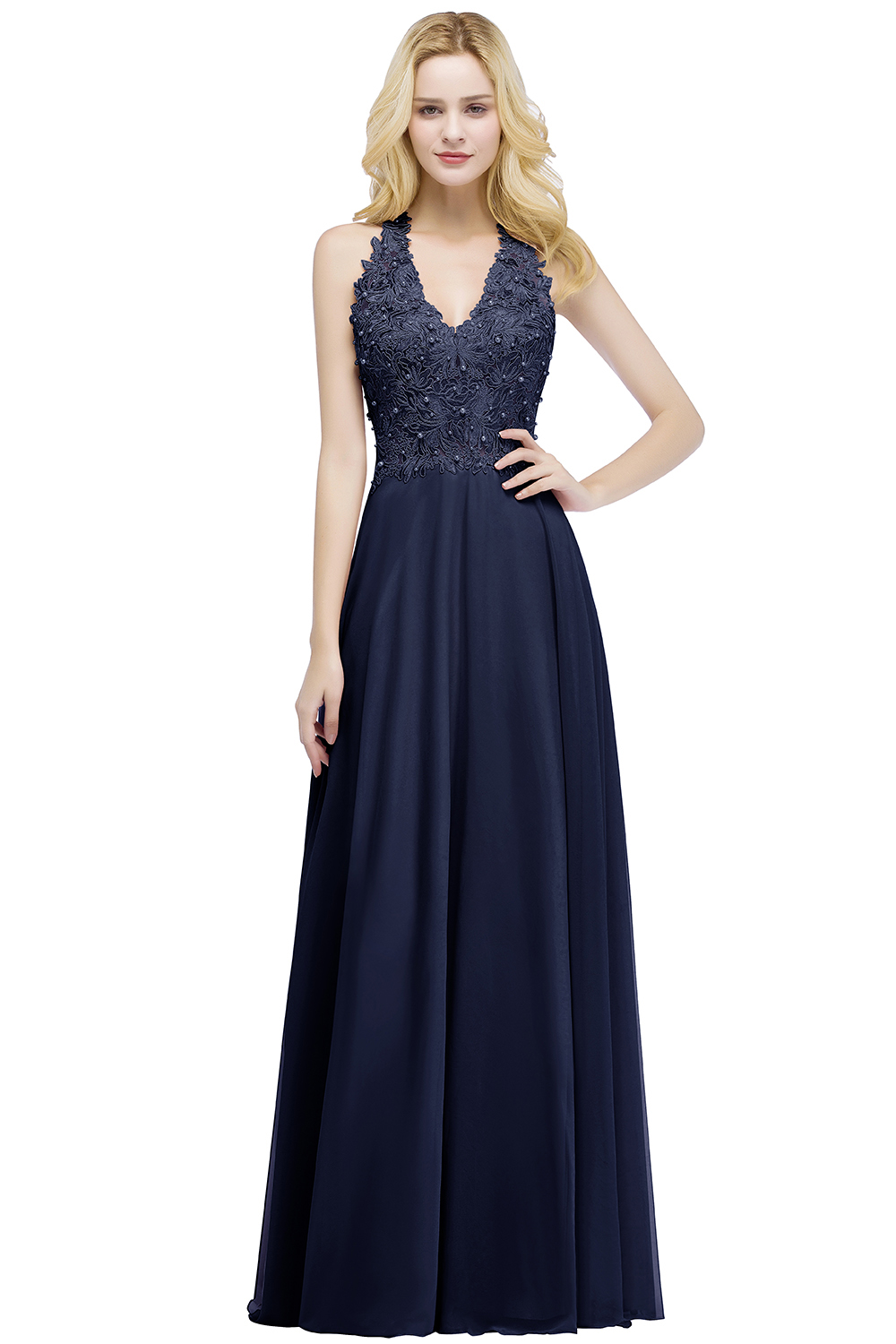 Elegant A Line Illusion Back with Pearls Floor Length Evening Dress 4