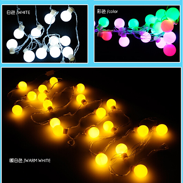 4M 40LED Christmas Colorful RGB Ball Fairy LED light String Party LED Twinkle Ball holiday Party Tree Light Battery Operated P22