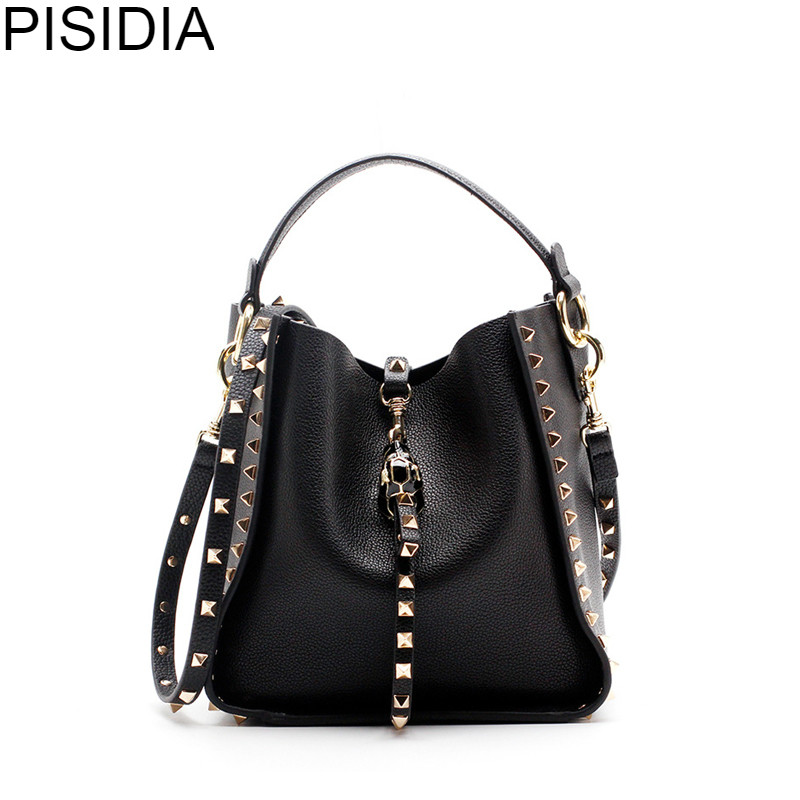 PISIDIA Brand genuing leather women shoulder bags Female gold Rivet design crossbody bag womens vintage metal bucket handbag
