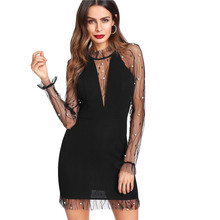 Black Pearl Beading Vine Mesh Panel Dresses Women Ruffle Round Neck Long Sleeve Sexy Party Bodycon Dress pearl beading knot front ruffle top