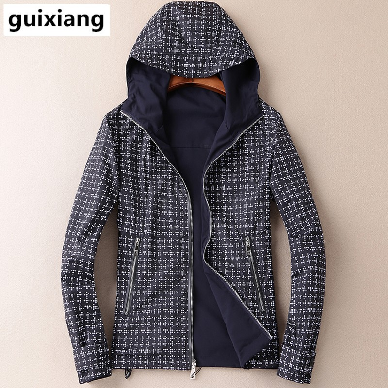 2017 spring Men's fashion leisure grid reversible jacket coat Men high quality brand men's hooded jackets trench coat size M-4XL