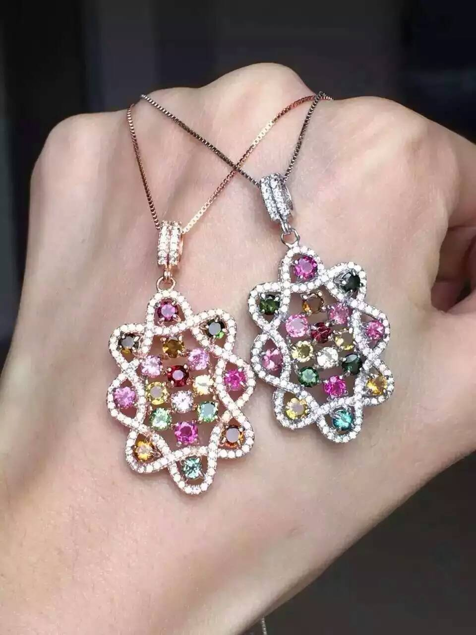 natural multicolor tourmaline pendant S925 silver Natural gemstone Pendant Necklace trendy Luxury Hydrangea ball women jewelry natural multicolor tourmaline pendant s925 silver natural gemstone pendant necklace trendy romantic peach heart women jewelry