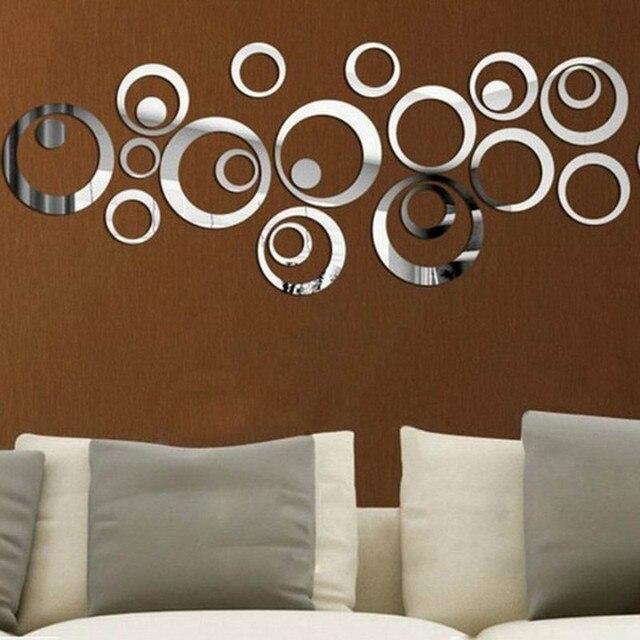 US $4.13  3D DIY Kunst Kreis Kristall Wandspiegel Aufkleber Selbstklebende  acryl Tapete Moderne Spiegel Wandtattoos Für Kinder Und Wohnzimmer Ro in ...