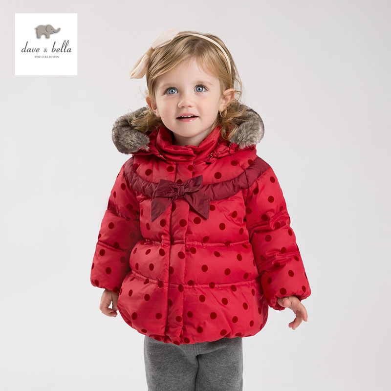 DB4631 dave bella  winter infant coat baby girls red dots printed coat white duck down padded coat hooded outerwear db4088 dave bella baby girls padded clothing hooded padded coat outerwear kids down jacket