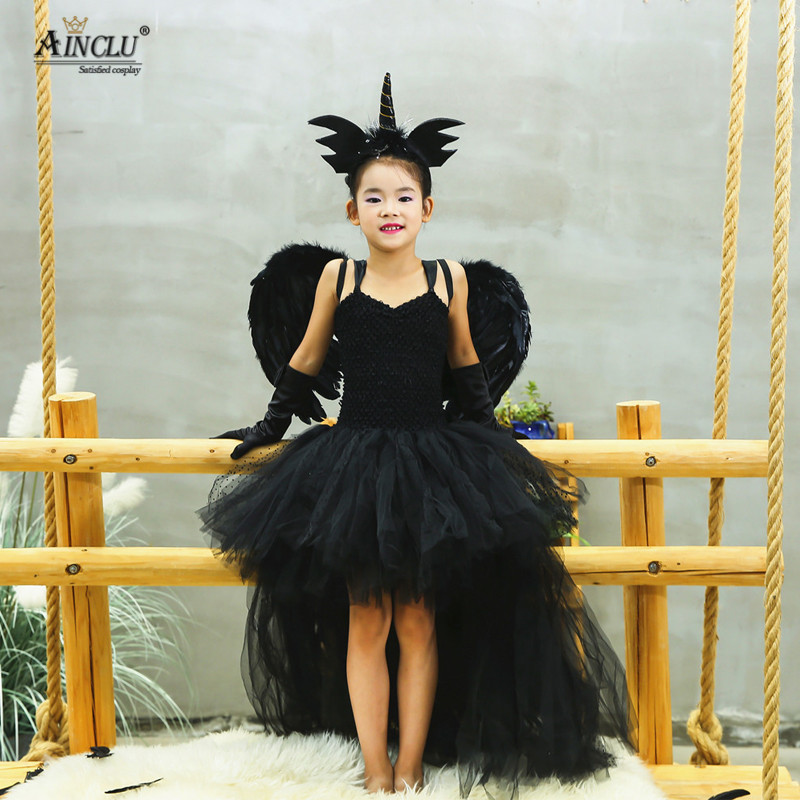 Girls Dress Unicorn Angel-Wings-Headpin-Sets Performance Devil Halloween Black Children Cosplay