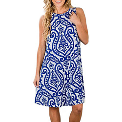 Women Print sleeveless pullover dress dresses clothing 2019 indie Folk fashion Dress above knee mini loose fit colorful dresses 2